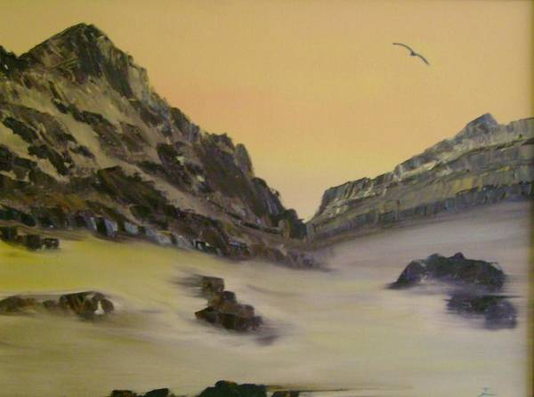 Mountains Poster featuring the painting Orange Sky by Dottie Briggs