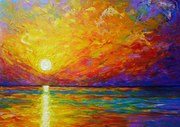 Landscape Poster featuring the painting Orange Sunset by Ericka Herazo