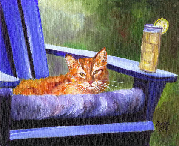 Orange Tabby Poster featuring the painting Orange Tabby And Lemonade by Mary Jo Zorad