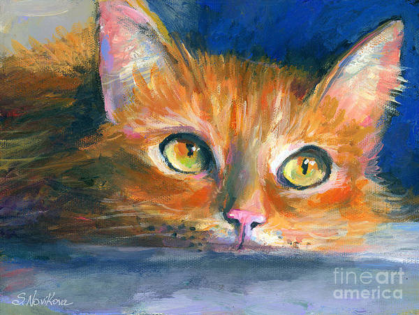Orange Tubby Painting Poster featuring the drawing Orange Tubby Cat Painting by Svetlana Novikova