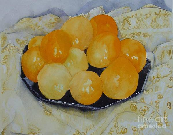 Still Life Watercolor Original Leilaatkinson Oranges Poster featuring the painting Oranges by Leila Atkinson