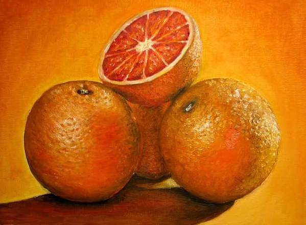 Oranges Poster featuring the painting Oranges Original Oil Painting by Natalja Picugina