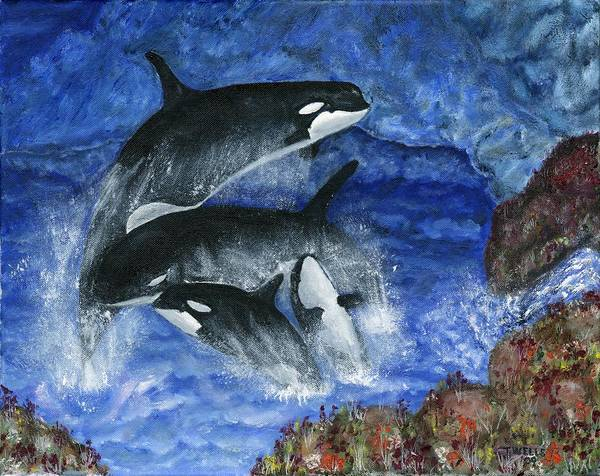 Killer Whales Poster featuring the painting Orcas Family Frolicks by Tanna Lee M Wells