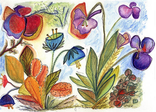 Nature Flowers Orchids Art Painting Plants Fantasy Poster featuring the painting Orchid No. 24 by Julie Richman