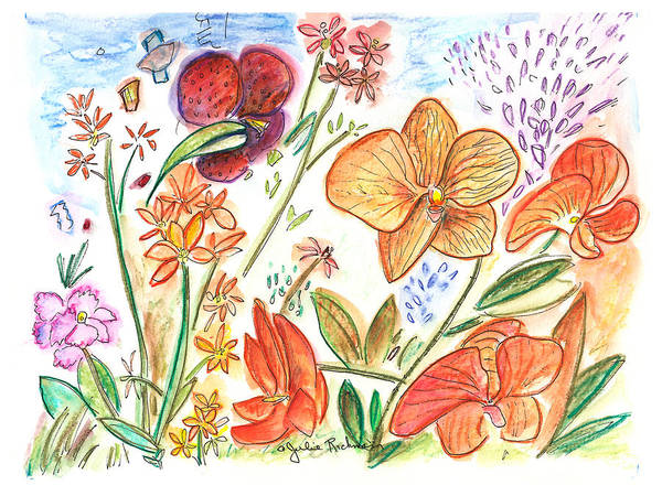 Flowers Poster featuring the painting Orchid No. 9 by Julie Richman