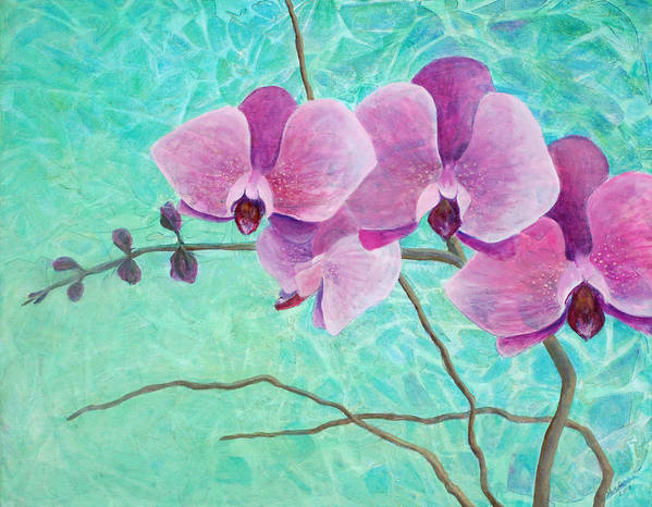 Flower Poster featuring the painting Orchids In Pink by Arlissa Vaughn