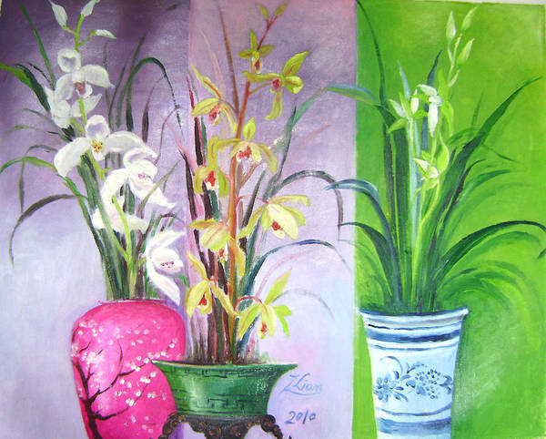 Flowers Poster featuring the painting Orchids Trio by Lian Zhen