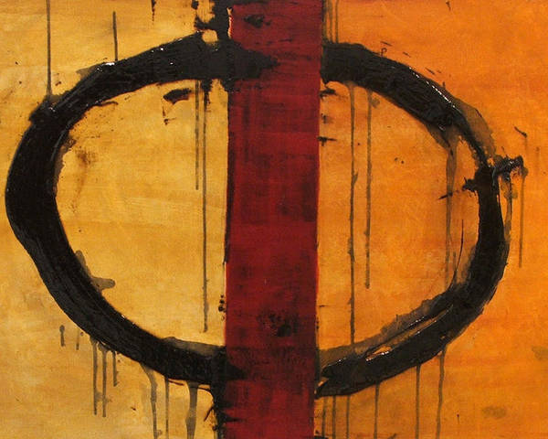 Abstract Poster featuring the painting Order In Chaos Yellow by Ellen Beauregard