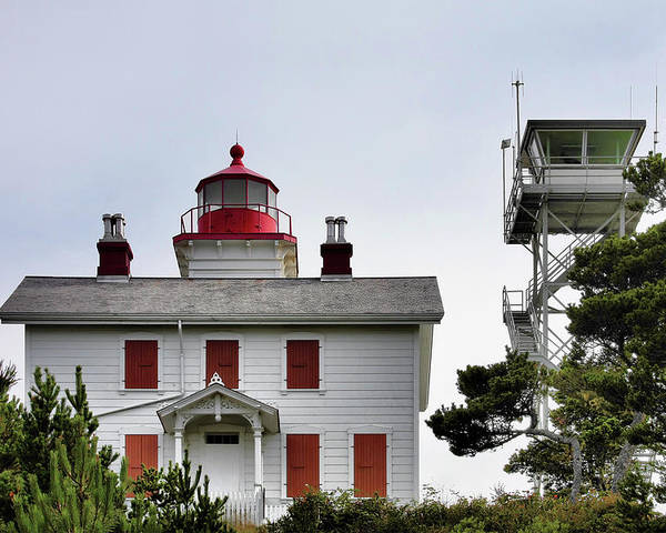 Yaquina Bay Lighthouse Poster featuring the photograph Oregon's Seacoast Lighthouses - Yaquina Bay Lighthouse - Old And New by Christine Till