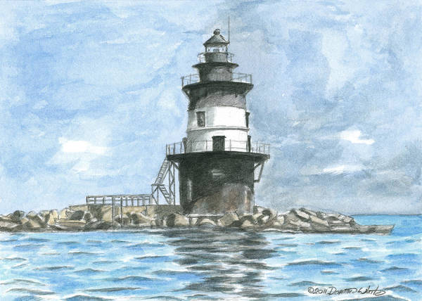 Lighthouse Poster featuring the painting Orient Point Lighthouse by Dominic White