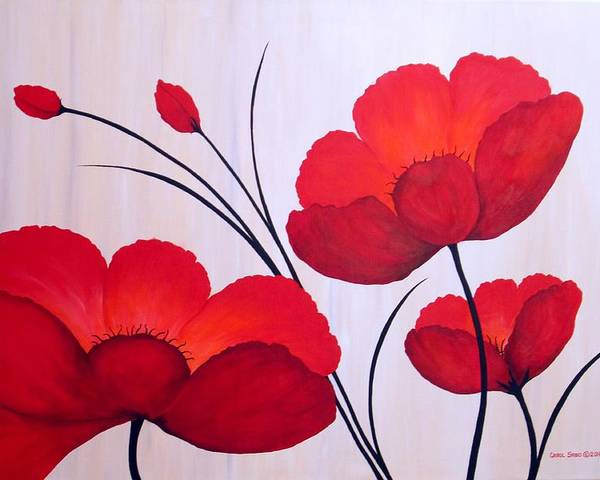 Poppies Poster featuring the painting Oriental Poppies by Carol Sabo