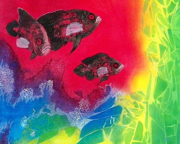 Fish Poster featuring the painting Oscars In Aquarium by Terry Honstead