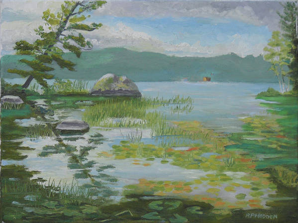 Adirondacks Poster featuring the painting Oseetah Lake Cove by Robert P Hedden