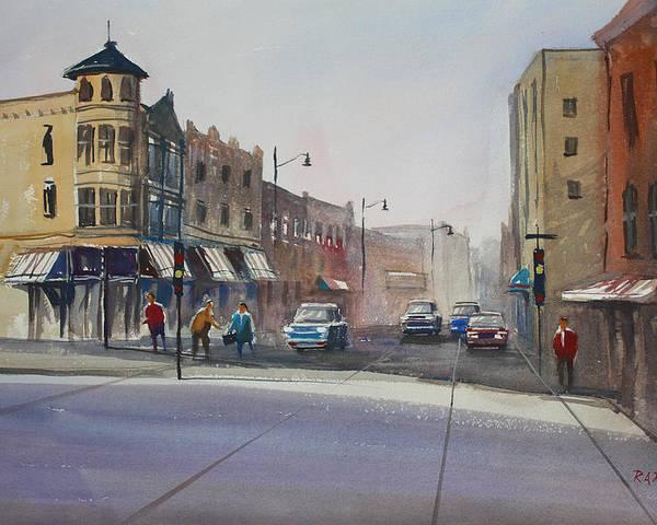 Street Scene Poster featuring the painting Oshkosh - Main Street by Ryan Radke