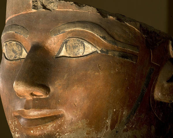 Indoors Poster featuring the photograph Osiris Statue Face Of Hatshepsut by Kenneth Garrett