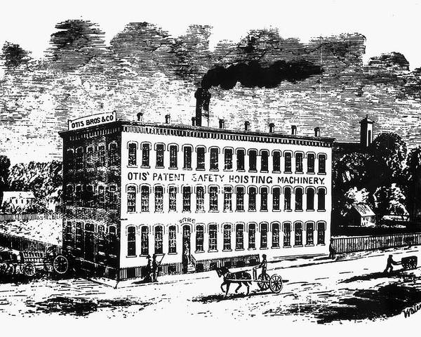 1870 Poster featuring the photograph Otis Elevator Factory by Granger