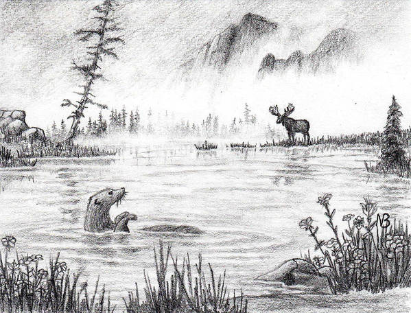 Otter Poster featuring the drawing Otter Fog by Nils Bifano