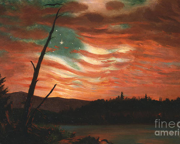 Our Poster featuring the painting Our Banner In The Sky by Frederic Edwin Church