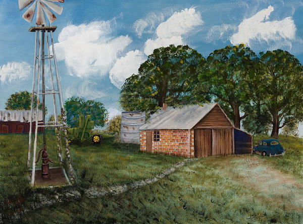 Landscape Poster featuring the painting Our Family Farm by Julia Ellis