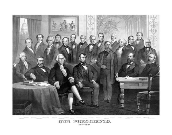 Us Presidents Poster featuring the painting Our Presidents 1789-1881 by War Is Hell Store