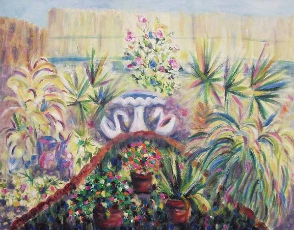 Yard Poster featuring the painting Our Private Yard by Suzanne Marie Leclair