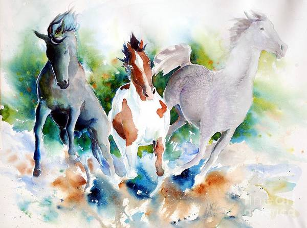 Horses Poster featuring the painting Out Of Nowhere by Christie Michelsen