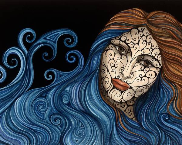 Figurative Poster featuring the painting Out Of The Blue by Tina Blondell