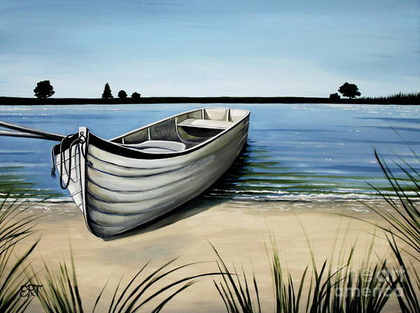 Boat Poster featuring the painting Out On The Water by Elizabeth Robinette Tyndall