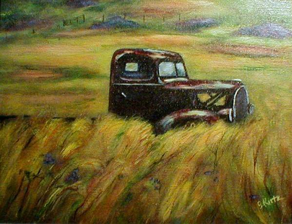 Vintage Truck Poster featuring the painting Out To Pasture by Gail Kirtz