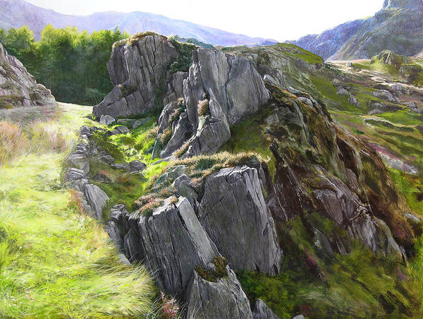 Landscape Poster featuring the painting Outcrop In Snowdonia by Harry Robertson