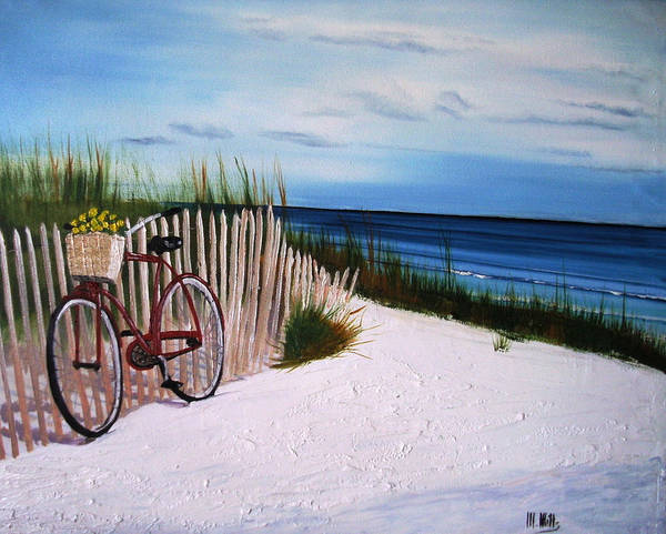 Beach Poster featuring the painting Outer Banks Beach by Maria Mills