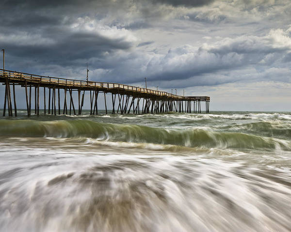 Cape Hatteras Nc Poster featuring the photograph Outer Banks Nc Avon Pier Cape Hatteras - Fortitude by Dave Allen