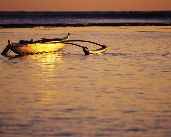 Aku Poster featuring the photograph Outrigger And Sunset by Joss - Printscapes
