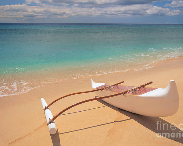 Afternoon Poster featuring the photograph Outrigger On Beach by Dana Edmunds - Printscapes