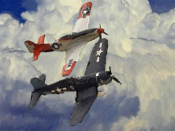 Aircraft P51 Mustang World War Ii Plane Airplane Victory Fighter Battle Cloud Clouds Sky Art Aviation Military Force Corsair Navy Jet Spitfire Painting Poster featuring the pastel Over The Clouds 2 Pastel by Steve K