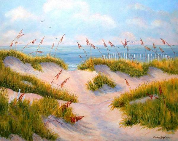 Ocean Poster featuring the painting Over The Dunes by Elaine Bigelow