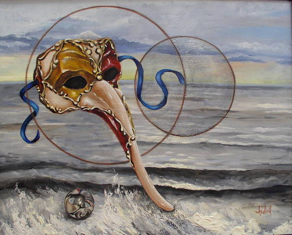 Sacred Geometry Poster featuring the painting Over The Ocean by Ixchel Amor