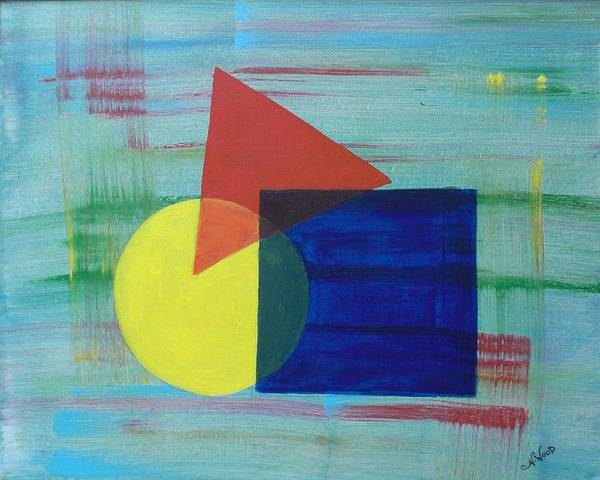 Shapes Poster featuring the painting Overlapping Shapes by Nancy Sisco