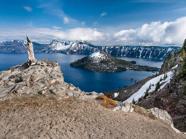 Crater Lake Poster featuring the photograph Overlooking Wizard Island In Spring by Greg Nyquist