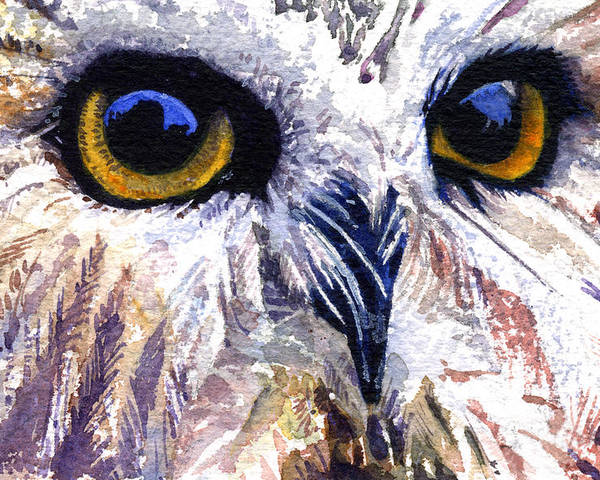 Eye Poster featuring the painting Owl by John D Benson