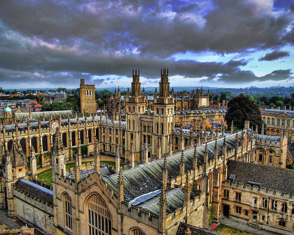 Oxford Poster featuring the photograph Oxford University - All Souls College by Yhun Suarez