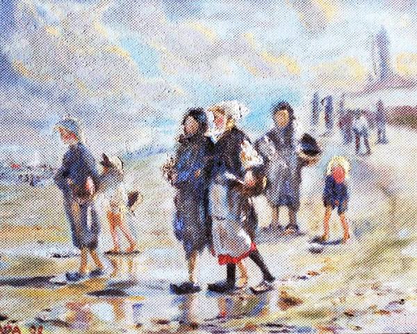 Oil Poster featuring the painting Oyster Gatheres Of Cancale by Horacio Prada