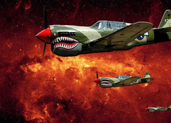 P40 Poster featuring the photograph P40s A Long Ways From Home by Lawrence Costales