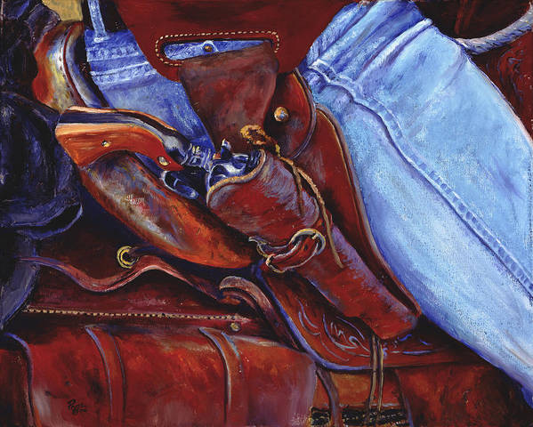 Pistol Poster featuring the painting Packin by Page Holland