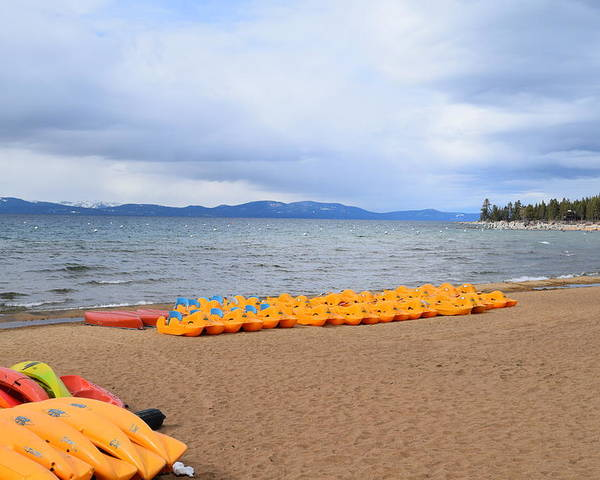 Lake Tahoe Poster featuring the photograph Paddle Boat Anyone by Christina McNee-Geiger