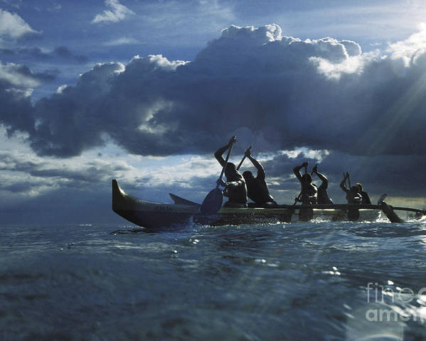 02-csm0209 Poster featuring the photograph Paddlers At Sunset by Bob Abraham - Printscapes