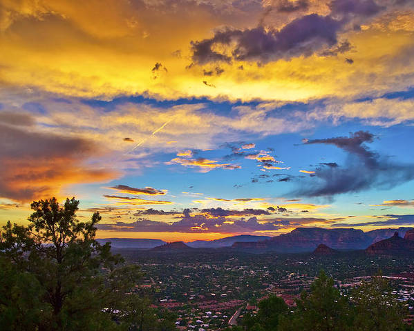 Sedona Poster featuring the photograph Painted Sky's Over Sedona by Lou Novick