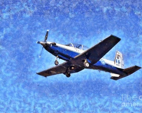 Fly Poster featuring the painting Painting Of Daedalus Demo Team Of Hellenic Air Force Flying A T-6a Texan II by George Atsametakis