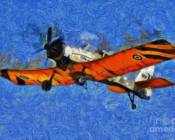 Pezetel Poster featuring the painting Painting Of Pezetel Aircraft Of Hellenic Air Force by George Atsametakis