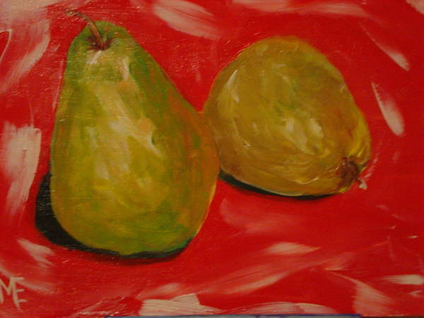 Pears Poster featuring the painting Pair Of Pears by Melinda Etzold
